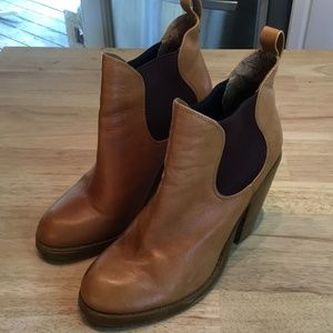 Seychelles Caramel Leather Ankle Boots Size 9